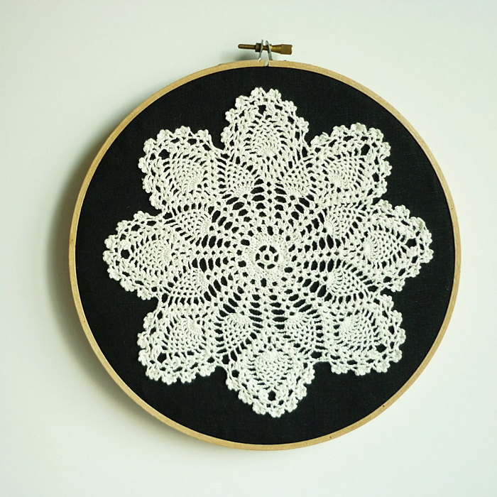 Doily Embroidery Hoop Art - Snowflake At Night - Framed ...